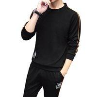 Erkek Eşofmanlar Spor Sonbahar Kış Erkek Casual Suit Uzun Kollu 2 Parça Setleri Kazak Ince Yuvarlak Boyun Sporları