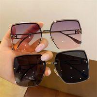 Brand Designer Sunglasses Rimless Sun Glasses Oversize Frame Eyeglasses Anti-UV Spectacles Gradient Color Ornamental Goggle Eyewear A++
