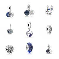 2020 Fit Original Pandora Charms Bracelets DIY Femmes Bijoux Nouveau Sky Blue Series Star Moon Butterfly Flower Fleurs Snowflake Love Beads 812 T2