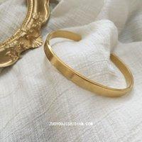 Bangle Titanium Steel No Fading Elegance Retro Minority Simple Glossy Golden Open-End Bracelet Wholesale Charm Bracelets For Women