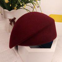 Le meilleur automne pure laine feutre fascinator chapeau de mariage chapeau de chapeau de pilules pour femmes cocktail fête vintage dame hiver béret solide chapeau hôtesse