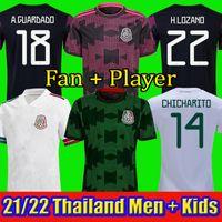 멕시코 축구 유니폼 Copa America Camisetas 20 21 팬 선수 버전 Chicharito Lozano Dos Santos 2021 축구 셔츠 남성 + 아이들이 키트를 설정합니다