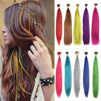 Strands Syntetyczny Przedłużenie 50 Piec Fałszywy Rainbow Overhead Fake Coloring Feather Do Włosów