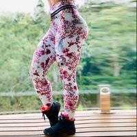 Moda Mujeres Leggings Slim High Cintura Elasticidad Legging Peach Impresión Leggins Mujer Pantalones Fitness Ropa de Navidad