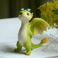 Collezione quotidiana Simulazione in resina Magic Animal Dragon Dinosaur Miniature Fairy Garden Garden Terrario Bonsai Decor Figurine 210804