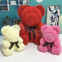 US Sock 38cm Rose Teddy Bear Flor Artificial LED Strings Decoração Rose Bear Presentes do Dia dos Namorados para Mulheres Casa Decoração de Casamento