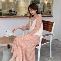 Повседневные платья Direcly 2021 летние женщины платье с длинными рукавами Цветочный печать Boho Style Beach Chiffon Sundress Shift Vestido