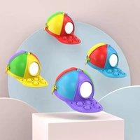 Fidget Toys Hat Coin Purse Keychains Storage Bag Pendant Rainbow Press Squeeze Desktop Push Sensory Bubble Silicone Unzip Decompression Toy