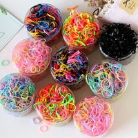 1000PCS Set Rainbow Nylon Elastic Hair Bands Women Girl Swee...