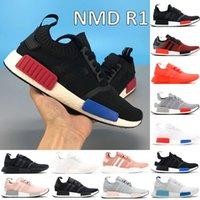 Avec boîte NMD NMD R1 chaussures de course noyau noir monochrome luxuriant rouge blancheur bleu triple mode blanche hommes femmes baskets américains 5-11
