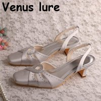 Dress Shoes Arrival Crystal Satin Grey For Women Wedding Square Heel Female Footwear