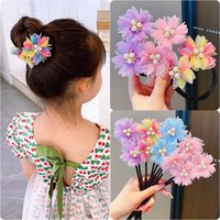 Hair Accessories Fashion Girls Pearl Crystal Pin Foldable Rope Lovely Colorful Flowers Fixed Jewelry Pi
