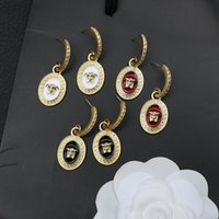18K Gold Plated Korean Brand Designer Letters Portrait Stud Dangle Earrings Copper Metal Crystal Fashion Women Rhinestone Wedding Party Gifts Jewelry Accessories