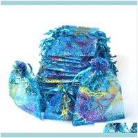 Ambalaj ofis okul iş sanayidstring ambalaj hediye çantası takı torbalar organze şeker çanta paketi çanta karışımı renk damla teslim