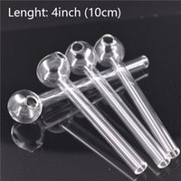 Top quality Glass Oil Burner Pipe Clear 4inch transparent Great Tube oil Nail pipes Smoking Tobacco Dry Herb banger nail dhl free