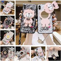 Custodie del telefono cellulare dello specchio del trucco del fumetto sveglio per IP 12 11 Pro Max XR XS XS x 8 7 Plus Girl Donne Stampa Flower Little Bear Cover del cellulare