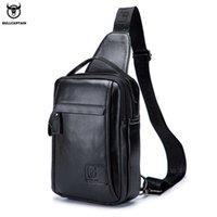 Bullcaptain جلد حقيقي الرجال حقائب الصدر حقيبة متعددة الوظائف يمكن أن تحمل 9،7 بوصة أكياس ايباي الأزياء حقيبة قطري للرجال