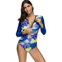 Tek parça Takım Elbise Kadınlar Seksi Yaprak Çiçek Baskı Mayo Brezilyalı Uzun Kollu Beachwear Sörf Mayo Beach Mayolar S ~ XXL