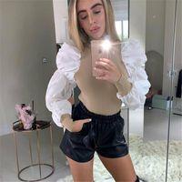 Bayan Bluz Bayanlar Omuz Yüksek Kaliteli Puf Kollu Balıkçı Yaka Güzel Örme Jumper Varış Gömlek 2 Renkler İsteğe Bağlı Kadın Bluzlar Shir
