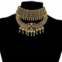 Bohemian Vintage Aleación Negro Piedra Gargantilla Collares para Mujeres Gypsy Tribal Turco Turco Cuello Chunky Festival Partido Joyería Gafas de regalo