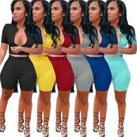 2021 Летние Женщины Couscsuit Yoga Outfits с коротким рукавом Футболка + шорты сплошной цвет 2 шт. Jogger наборы тренажерный зал одежда плюс размер