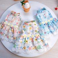 Dog Apparel Teddy Bichon dress floral dresses princess lace flower dogs clothes Pet Supplies