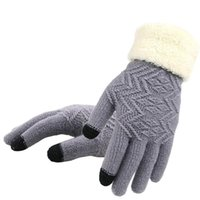 Five Fingers Gloves Winter Women Knitted Touch Screen Female Thicken Warm Full Finger Soft Stretch Knit Mittens Ladies Guantes