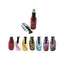 Nuova casa 330ml 12oz case bottiglia in neoprene leopardo girasole design portatile copertura termica con cerniera termica