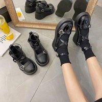 Dress Shoes Gioio Autunno Testa rotonda Mary Janes Pompe Donne Donne Retro Med Heel Fibbia Sandali Tacchi in pelle 5 cm
