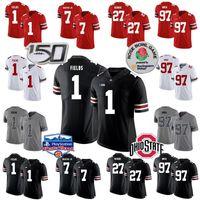 Ohio State Buckeyes Futbol Formaları 1 Justin Fields 2 Chase Young 7 Dwayne Haskins Jr. 27 Eddie George 97 Nick Bosa Elliott Fiesta Bowl