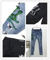 Erkek Tasarımcı Mavi Siyah Kot Yılan Yama Tarzı Delik Moda Ince Bacak Motosiklet Biker Nedensel Hip Hop En Kaliteli ABD Boyutu 29-40