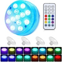 Submersible Lights Magnet and Suction Cups,Garden, RF Remote , IP68 Waterproof, Underwater Timing with 13 LED Pool Light