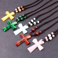 Piedra natural Colgante Colgante Collar largo Mujeres Hombres Católico Cristo Religioso Jesús Rosario Joyería Regalo Collares