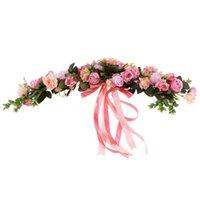 Artificial Silk Rose Wreath Ring Wall Door Lintel Flower Trim Mirror Garland Hanging Wedding Background Prop Decorative Flowers & Wreaths