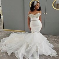 2021 Luxury Beaded Sweetheart Neck With Straps Bridal Party Gowns White Mermaid African Style Long Plus Size Robe De Marriage Wedding Dresses