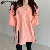 Coréen Style T-shirt T-shirt À Manches courtes Col O-Cou Tops Tee Candy Solid Couleur Couleur Casual Summer Tshirt 210426