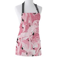 مآزر tophome مطبخ المئزر الوردي فلامنغو مطبوعة تعديل أكمام قماش للرجال النساء الاطفال أدوات تنظيف المنزل