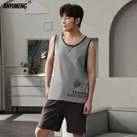 Men Pajamas Youth Man's Homewear Fashion Designer Cami Pj Selt 3xl 100% Cotton Summer Shorts Sleepwear Casual Pyjama Set 210918