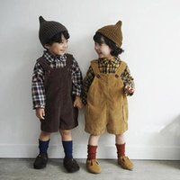 Trousers Koodykids Baby Boys Clothes Autumn Corduroy Overalls Toddler Girls Pants Matched Blouse Plaid Shirts Spring