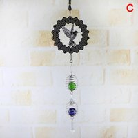Decorative Objects & Figurines 3D Metal Hanging Spinner Wind Chime With Spiral Tail Ball Center Home Decor AC889