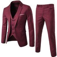 Men's Suits & Blazers Burgundy Mens Groom Wear Tuxedos 3 Piece Wedding Suit Groomsmen Man Formal Business For Men (Jacket+Pants +Vest)