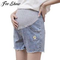 Verano algodón maternidad vientre pantalón corto embarazada mujeres hight cintura de algodón pantalones cortos embarazo jean ropa ajustable fondo