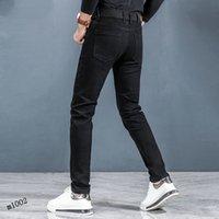 2021Patches Detail Biker Fit Jeans Men Slim Motorcycle For Mens Vintage Distressed Denim Jean Pants 28-38 #03
