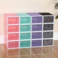 30pcs Shoes Boxes Set Display Box Multicolor Foldable Storage Plastic Clear Home Storage Shoe Rack Organizer Stack