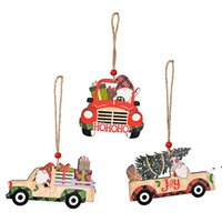Christmas Tree Hanging Ornaments Wooden Car Pendant New Year Gifts Xmas Accessories Home Decorations LLB11266