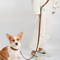 Dog Leash Multifunctional Rope Hands-free Leather Genuine High Quality Luxury Amazon Pet Supplies Collars & Leashes
