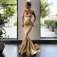 Prom Dresses Champagne Sweetheart Spaghetti Straps Silk Satin Mermaid Evening Gowns With Zipper Back vestidos fiesta de noche