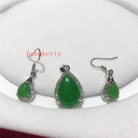 Earrings & Necklace Natural Green Jades Pendant 16X24mm Set
