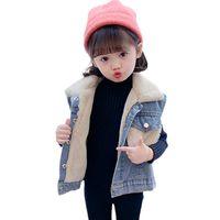 Baby Girls Boys Chalecos Children Moda Dibujos animados Sin mangas Patrón Jeans Chaleco Niños Primavera Otoño Algodón Denim Waistcoat 2-6 años 210412