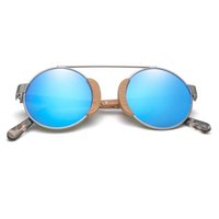 Polarize moda özel yuvarlak ayna vintage retro ahşap stok güneş shad sunglass